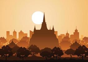 golden mountain temple or Saket famous landmark of Thailand vector