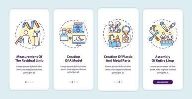 Pantalla de página de la aplicación de incorporación de pasos de fabricación de extremidades artificiales con conceptos vector