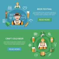 Flat Beer Banners Set Vector Illustration
