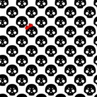 negro con calavera blanca con lazo rojo de patrones sin fisuras. patrón para diseño de tela o papel de regalo vector