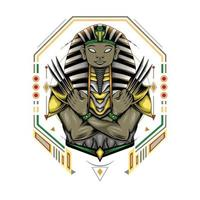 Egyptian pharaoh with claw in sacred geometry background. sphinx logo vector