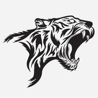 tiger head side roaring vector illustration