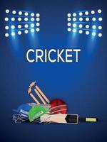 Cricket match tournament with cricket equipment on stadium background vector