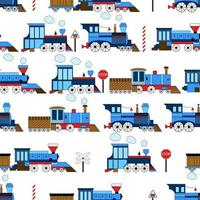 Seamless vector vintage funny train on a white background. Print for child's fabric.