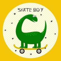 lindo dinosaurio monta en patineta. Textura ideal para tela infantil, textil, confección. vector