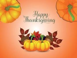 Happy thanksgiving day invitation greeting card with vector autumn leaf and pumpkin