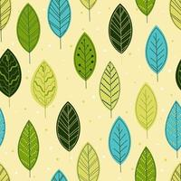 Stylized colorful leaves seamless pattern. Hand drawn decorative floral background. Vector illustration for fabric, print, web.