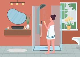 Ilustración de vector de color plano de rutina de higiene diaria