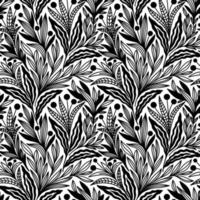 SEAMLESS BLACK AND WHITE FLORAL ORNAMENTS PATTERN vector