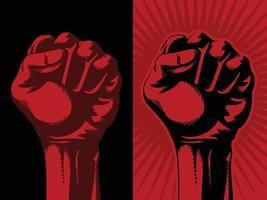 Raised Red Fist Hand Revolution Communism Socialism Symbol Drawing vector