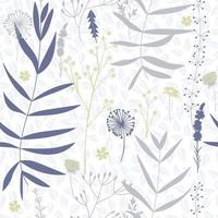 Hand drawn vector seamless pattern with floral elements. Vector pattern with leaves, twigs, branches, berries, grass.  Seamless pattern for home decor and textile.
