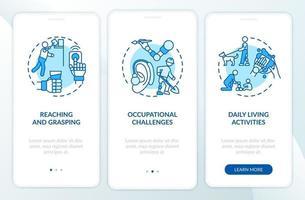 Prótesis de miembros superiores Tareas de incorporación de la pantalla de la página de la aplicación móvil con conceptos vector