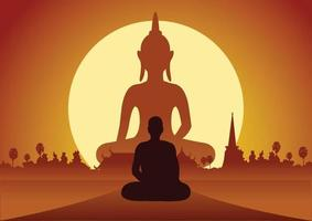 monk meditating by Buddha statue at sunset vector