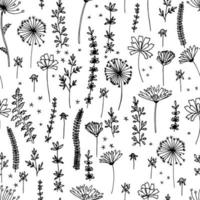 Silhouettes monochrome floral seamless pattern. Wild branches, leaves, flowers scattered random. Botanical vector illustration on white. Print for fabric.