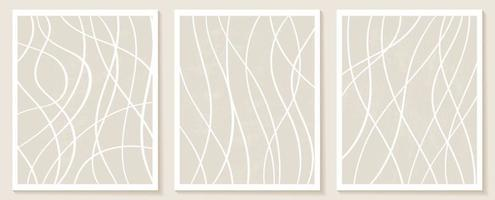 Aesthetic Contemporary templates with organic abstract shapes and line in nude colors. Pastel boho background in minimalist mid century style vector Illustration