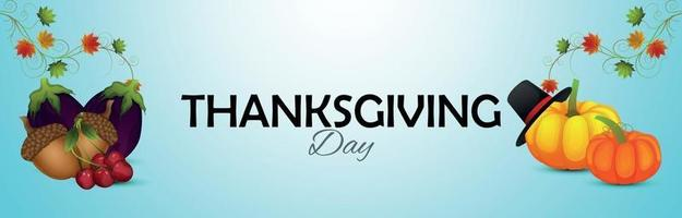 Happy thanksgiving day celebration banner with realistic fruits and pimpkin vector