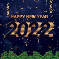 Banner de feliz año nuevo con fondo y número dorado realista vector