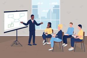 Marketing master class flat color vector illustration
