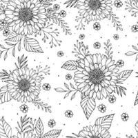 lindas flores y hojas sin costuras. flores y hojas retro grabado. Fondo floral de la tarjeta de felicitación. vector