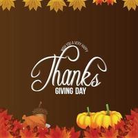 Ilustración de vector de fondo de invitación de feliz día de acción de gracias