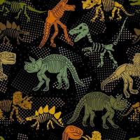 Dinosaur skeleton. Vector seamless pattern. Original design with dinosaur bones. Black background with dots. Desing for textile, clothes.