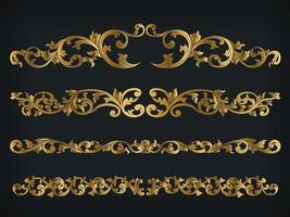 Divider Royal Gold Vintage Ornament Line Frame Decorative Vector
