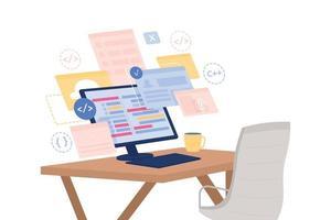 Software development course flat concept vector illustration