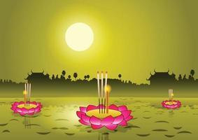 Loy Krathong festival in Thailand vector