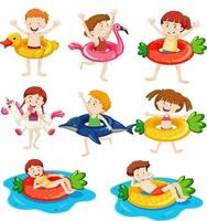 Different kids with their swimming ring isolated vector
