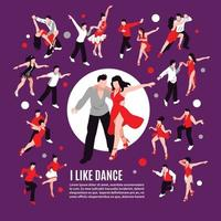 Dance Isometric People Composition Vector Illustration