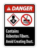 La etiqueta de peligro contiene fibras de amianto para evitar la formación de polvo. vector