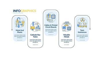 plantilla de infografía de vector de elementos de basura electrónica