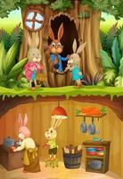 Rabbit family in underground with ground surface of the garden scene vector