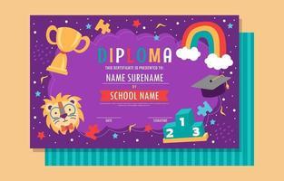 Kids School Certificate Template vector