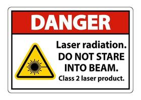 Danger Laser radiation do not stare into beam class 2 laser product Sign on white background vector