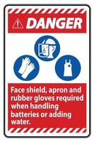 Danger Sign Face Shield Apron And Rubber Gloves Required When Handling Batteries or Adding Water With PPE Symbols vector