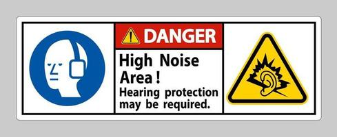 Danger Sign High Noise Area Hearing Protection May Be Required vector