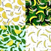 Homemade banana collection. Seamless patterns with bananas, exotic leaves and dots. Perfect for wallpaper, wrapping paper, textile and package design. vector