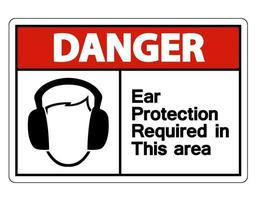 Danger Ear Protection Required In This Area Symbol vector
