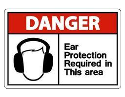 peligro protección auditiva requerida en este símbolo de área vector