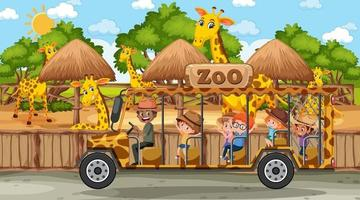 Safari at day time scene with many kids watching giraffe group vector