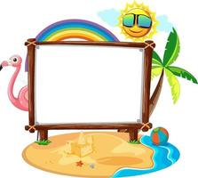 Summer Beach theme with empty banner isolated on white background vector