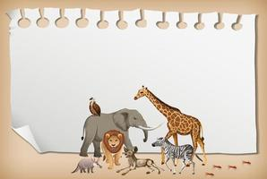 Empty paper banner with wild african animal vector