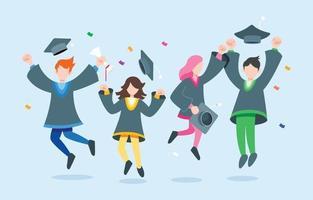 Students Celebrating Graduation Character Set vector