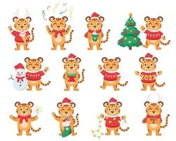 linda colección de tigres. año del tigre. feliz navidad y próspero año nuevo 2022. ilustración vectorial vector