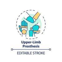icono de concepto de prótesis de miembro superior vector