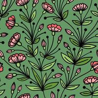 SEAMLESS GREEN PATTERN WITH TRAILING PINK FLOWERS vector