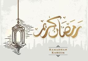 Tarjeta de felicitación de Ramadán Kareem con dibujo de linterna vector