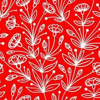 SEAMLESS RED PATTERN WITH TRAILING WHITE FLOWERS vector