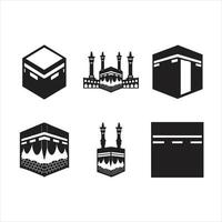 Kaaba mecca vector silhouettes with various shapes and points of view